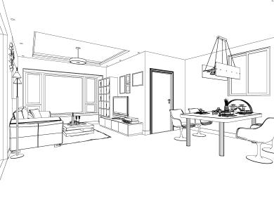简约客厅设计手绘图