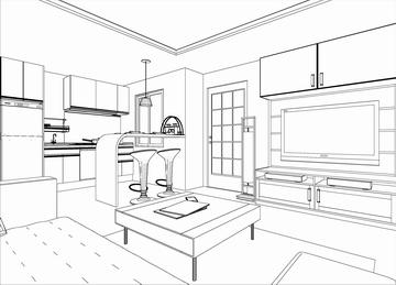 工程图 简笔画 平面图 手绘 线稿 360_259图片
